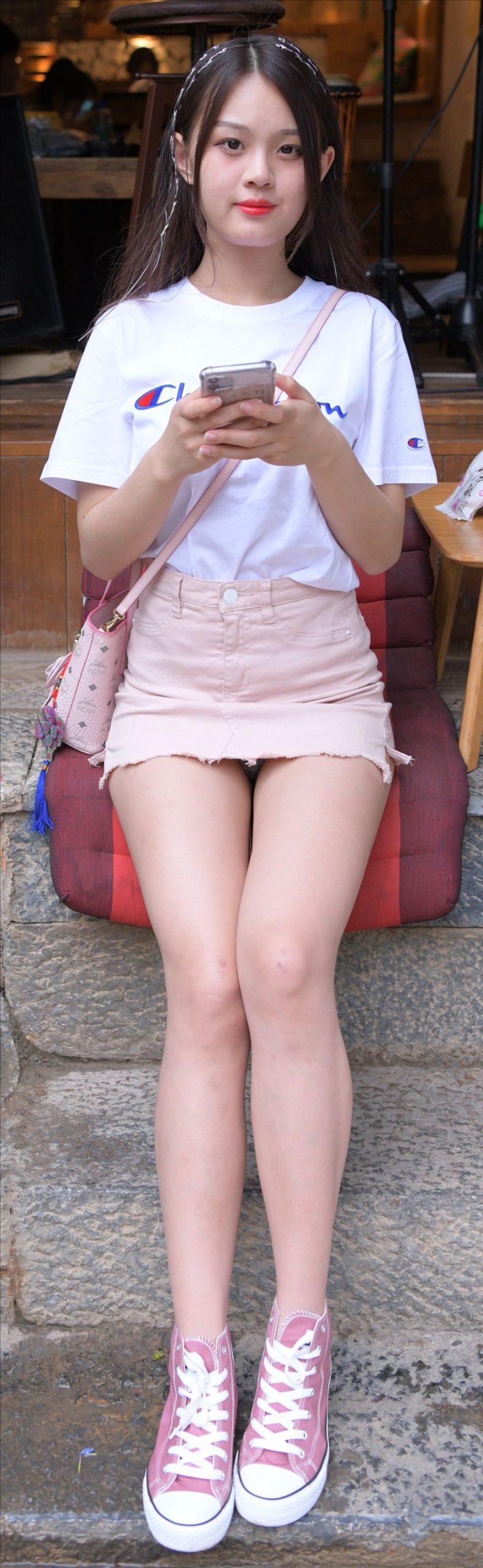 粉色牛仔裙