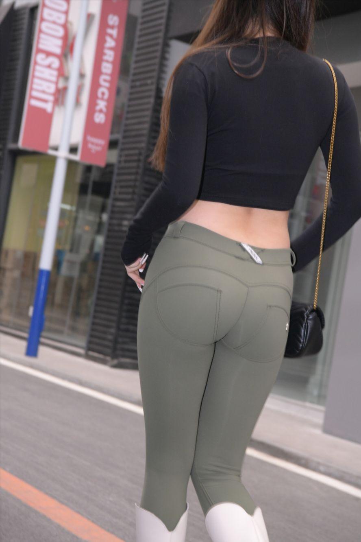 绿色蜜桃裤(套图+视频)